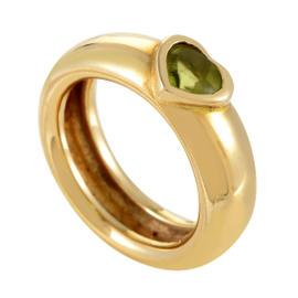 Tiffany & Co. 18K Yellow Gold Peridot Heart Band Ring Size 5.5
