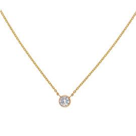 14K Yellow Gold Bezel Set Solitaire 0.47CT Diamond Pendant Necklace