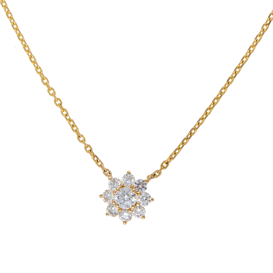 "Image of ""14K White Gold Flower Solitaire 0.53Ct Diamond Pendant Necklace"""