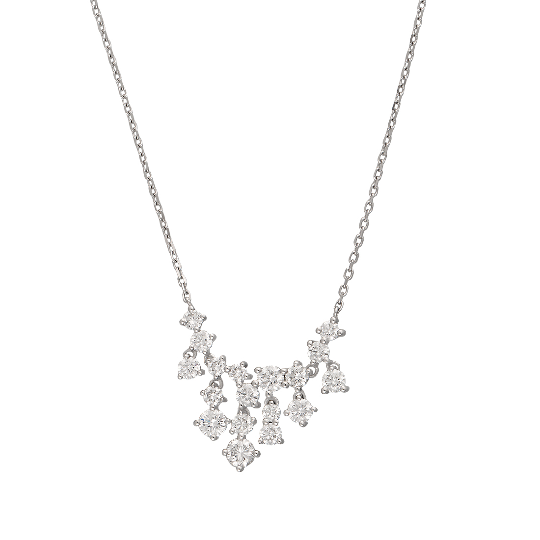"Image of ""14K White Gold Bib 1.54Ct Diamond Pendant Necklace"""