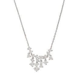 14K White Gold Bib 1.54CT Diamond Pendant Necklace