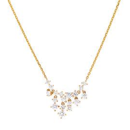 14K Yellow Gold Bib 1.54CT Diamond Pendant Necklace