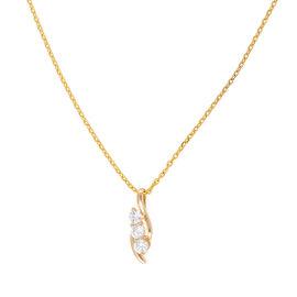 14K Yellow Gold Triple Solitaire 0.40CT Diamond Pendant Necklace