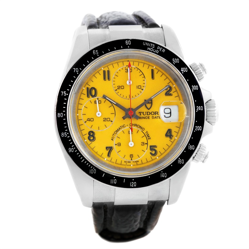 "Image of ""Tudor Tiger Prince 79260 Stainless Steel Yellow Dial 40mm Mens Watch"""