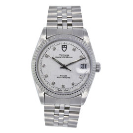 Tudor 74000 Oyster Prince Date Diamond Dial Stainless Mens Watch