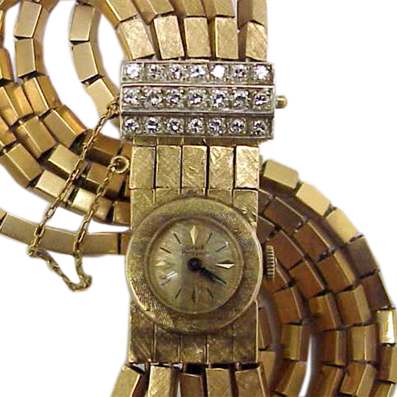 "Image of ""Girard Perregaux 18K Yellow Gold & Diamond 16mm Womens Watch"""