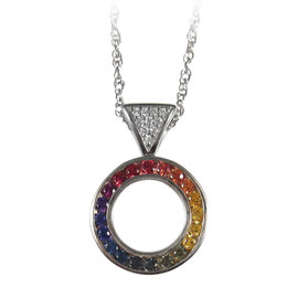 14K WHITE GOLD REVERSIBLE CIRCLE OF LIFE DIAMOND & RAINBOW SAPPHIRE PENDANT