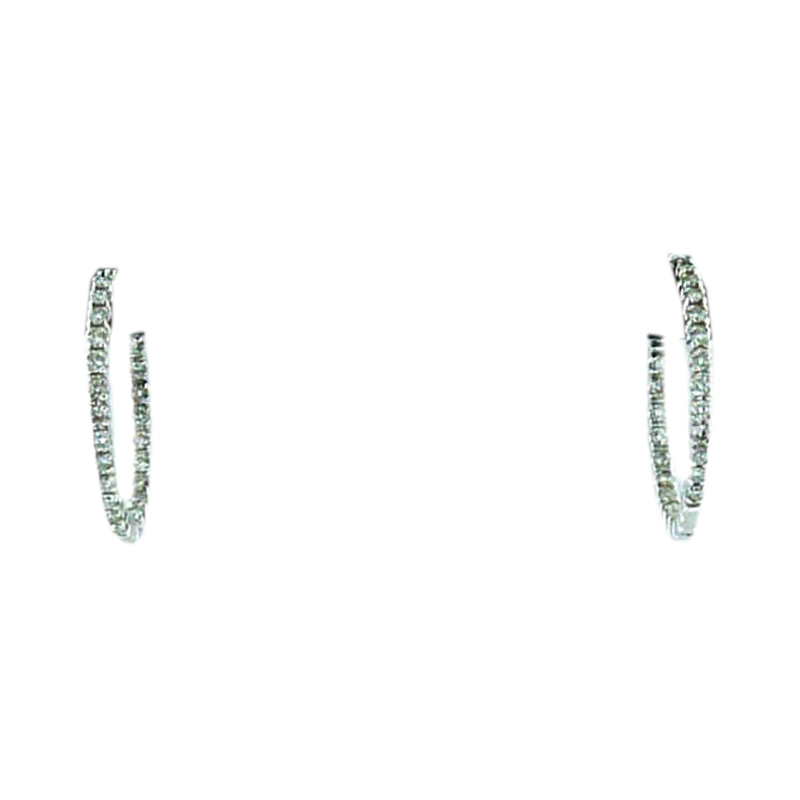 "Image of ""Meira T signed 14 K White Gold and Diamonds Small Hoop Earrings"""