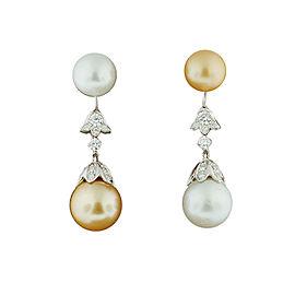 18K White Gold Two Tone Pearl And Diamond Dangle Earrings