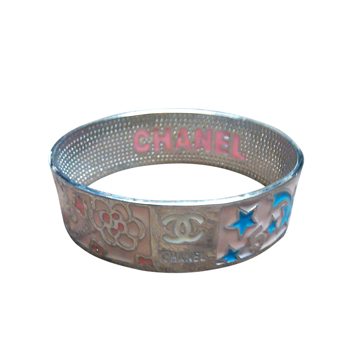 """Image of """"Chanel Stainless Steel and Enamel Flowers and Stars Bracelet"""""""