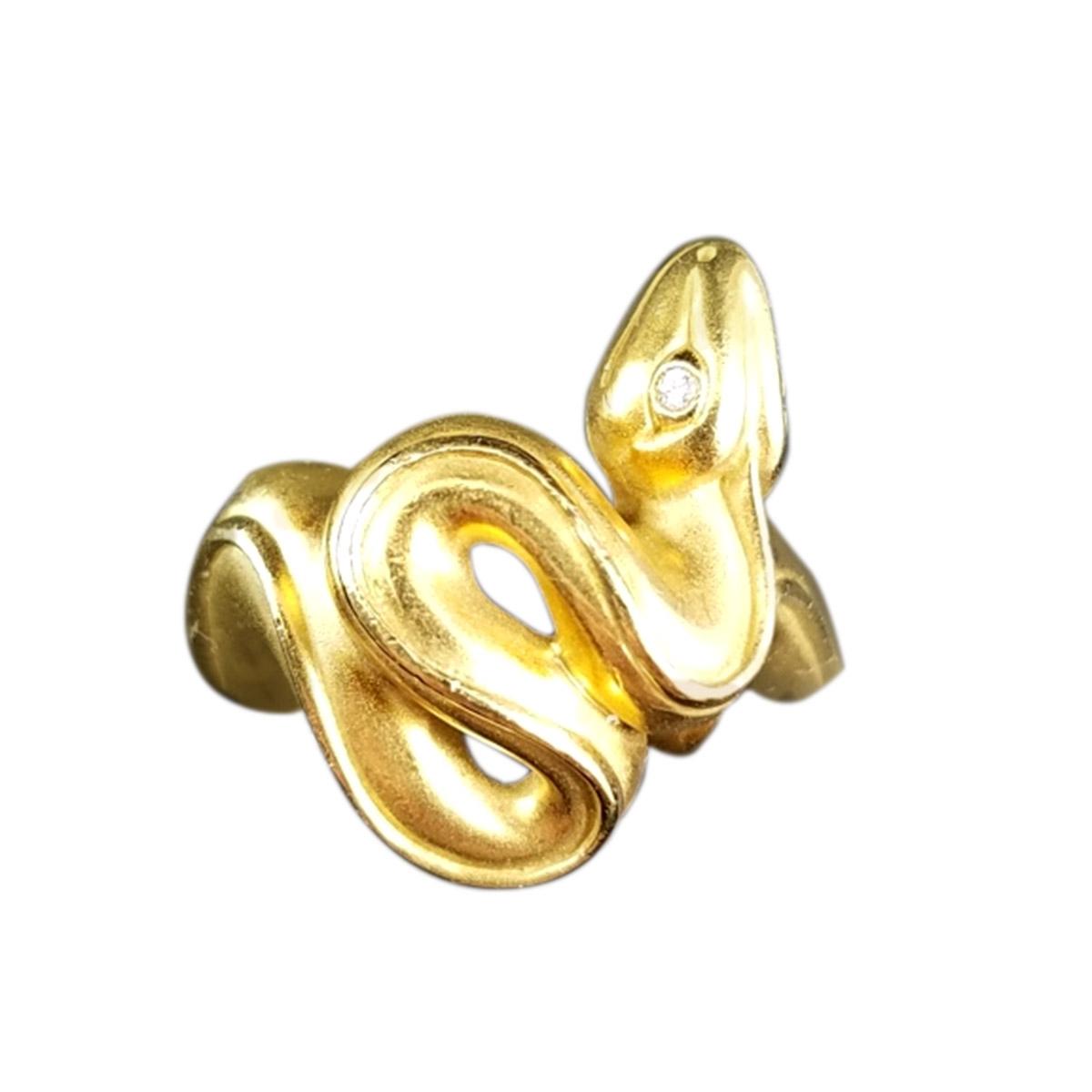 "Image of ""Kieselstein 18k Yellow Gold & Diamond Snake Ring"""