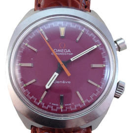 Omega Chronostop Geneve 145.009 35mm Purple Dial Watch