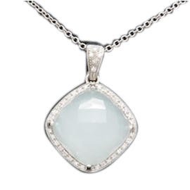Rina Limor 18K White Gold Blue Chalcedony and Diamond Necklace