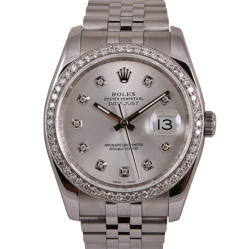 "Image of ""Rolex Datejust 116200 116234 Stainless Steel Silver Diamond Dial"""