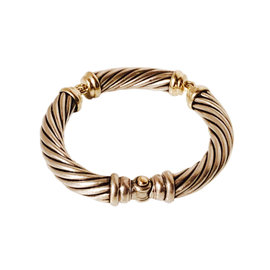 David Yurman Sterling Silver and 14K Yellow Gold Three Section Segmented Cable Station Bangle Bracelet