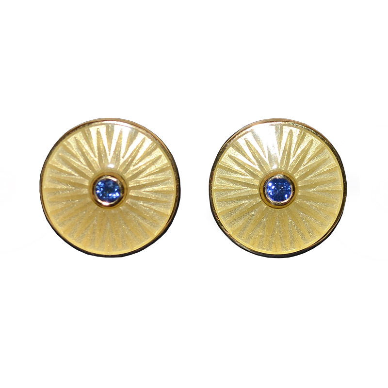 "Image of ""Deakin & Francis 18K Yellow Gold and Sapphire Cufflinks"""
