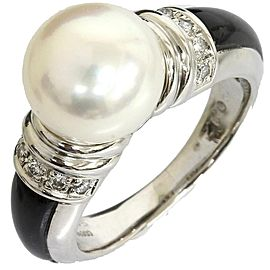 Mikimoto Pt950 Platinium 0.12ct Diamonds Pearl Onyx Ring