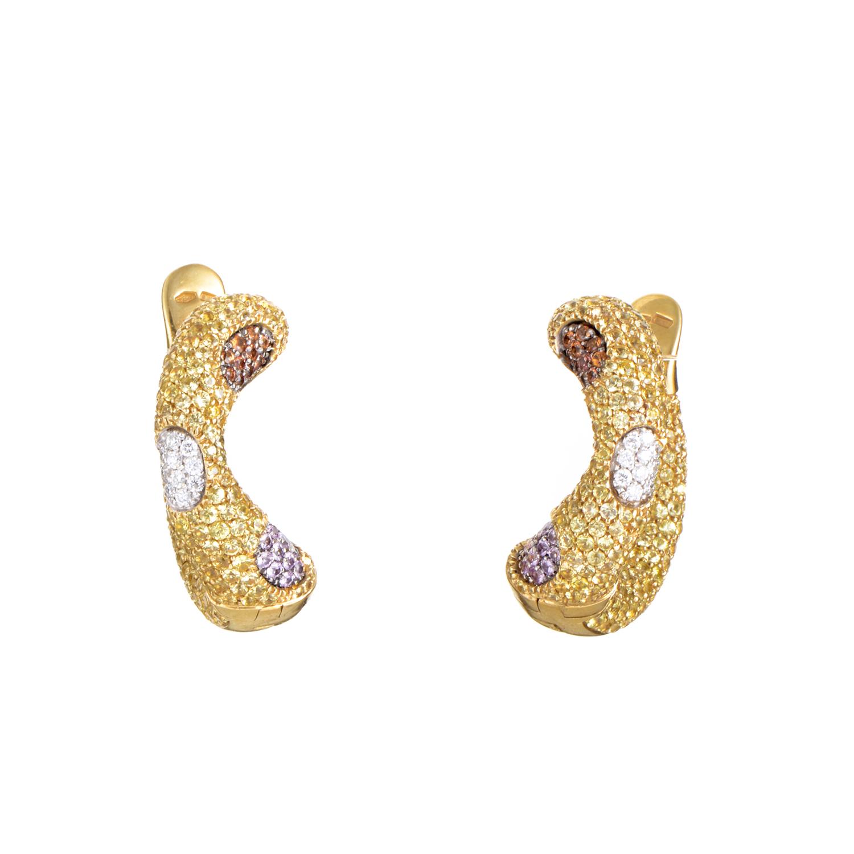 "Image of ""Valente Milano 18K Yellow Gold Multi-Sapphire & Diamond Earrings"""