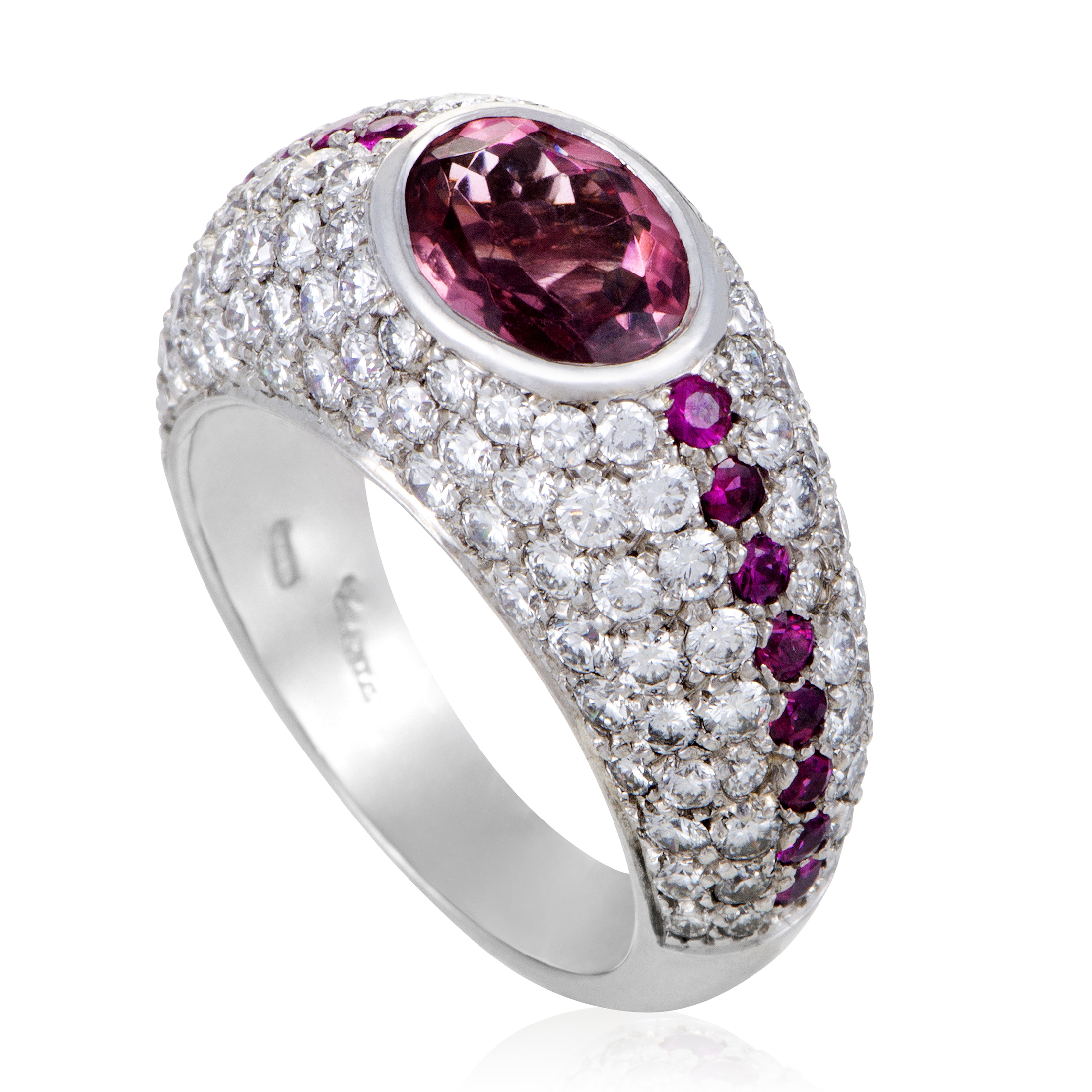 "Image of ""Valente Milano 18K White Gold Diamond Ruby and Tourmaline Band Ring"""