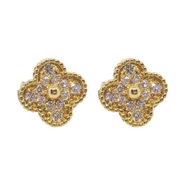 Van Cleef & Arpels 18K Yellow Gold Alhambra Diamond Earrings