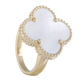 Van Cleef & Arpels Magic Alhambra 18K Yellow Gold White Mother of Pearl Ring Size 6.25