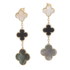 Van Cleef & Arpels Magic Alhambra 18k Yellow Gold Mother of Pearl and Onyx Earrings