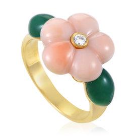 Van Cleef & Arpels 18K Yellow Gold Diamond & Gemstone Flower Ring Size 6.25