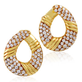 Van Cleef & Arpels 18K Yellow Gold Diamond Pave Clip-on Earrings
