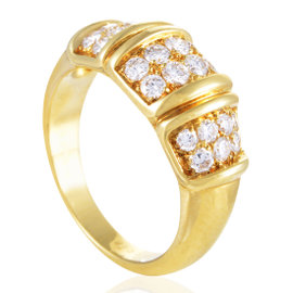 Van Cleef & Arpels 18K Yellow Gold Partial Diamond Pave Band Ring Size 7.5