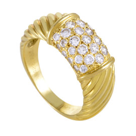 Van Cleef & Arpels 18K Yellow Gold Partial Diamond Pave Band Ring 6.25