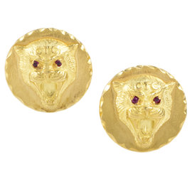 Van Cleef & Arpels 18K Yellow Gold & Ruby Wildcat Cufflinks
