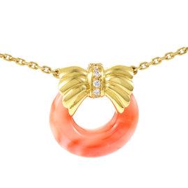 Van Cleef & Arpels Women's 18K Yellow Gold Diamond & Coral Pendant Necklace