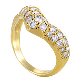 Van Cleef & Arpels 18K Yellow Gold Curved Diamond Band Ring Size 6.0
