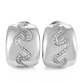 Van Cleef & Arpels 18K White Gold Diamond Wave Huggie Womens Earrings