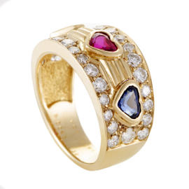 Van Cleef & Arpels 18K Yellow Gold Diamond Emerald Ruby and Sapphire Band Ring Size 5.0