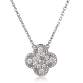 Van Cleef & Arpels Alhambra 18K White Gold 0.48ct. Diamond Pave Pendant Necklace