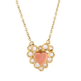 Vintage Van Cleef & Arpels 18k Yellow Gold Diamond And Coral Heart Pendant Necklace