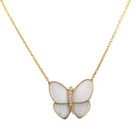 Van Cleef & Arpels 18k Yellow Gold Diamond and Mother of Pearl Butterfly Necklace