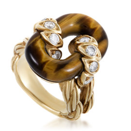 Van Cleef & Arpels Vintage 18K Yellow Gold Diamond and Tiger's Eye Ring Size 5