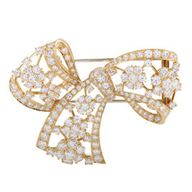 Van Cleef & Arpels 18K Yellow Gold & Diamond Pave Bow Brooch