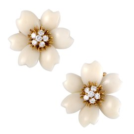 Vintage Van Cleef & Arpels Rose De Noël 18k Yellow Gold Diamond and White Coral Clip-on Earrings