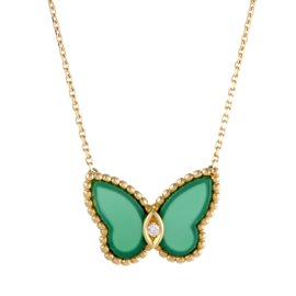 Van Cleef & Arpels 18k Yellow Gold Diamond and Green Chalcedony Butterfly Pendant Necklace