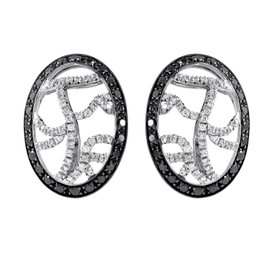 Versace 18K White Gold Black & White Diamond Huggie Earrings
