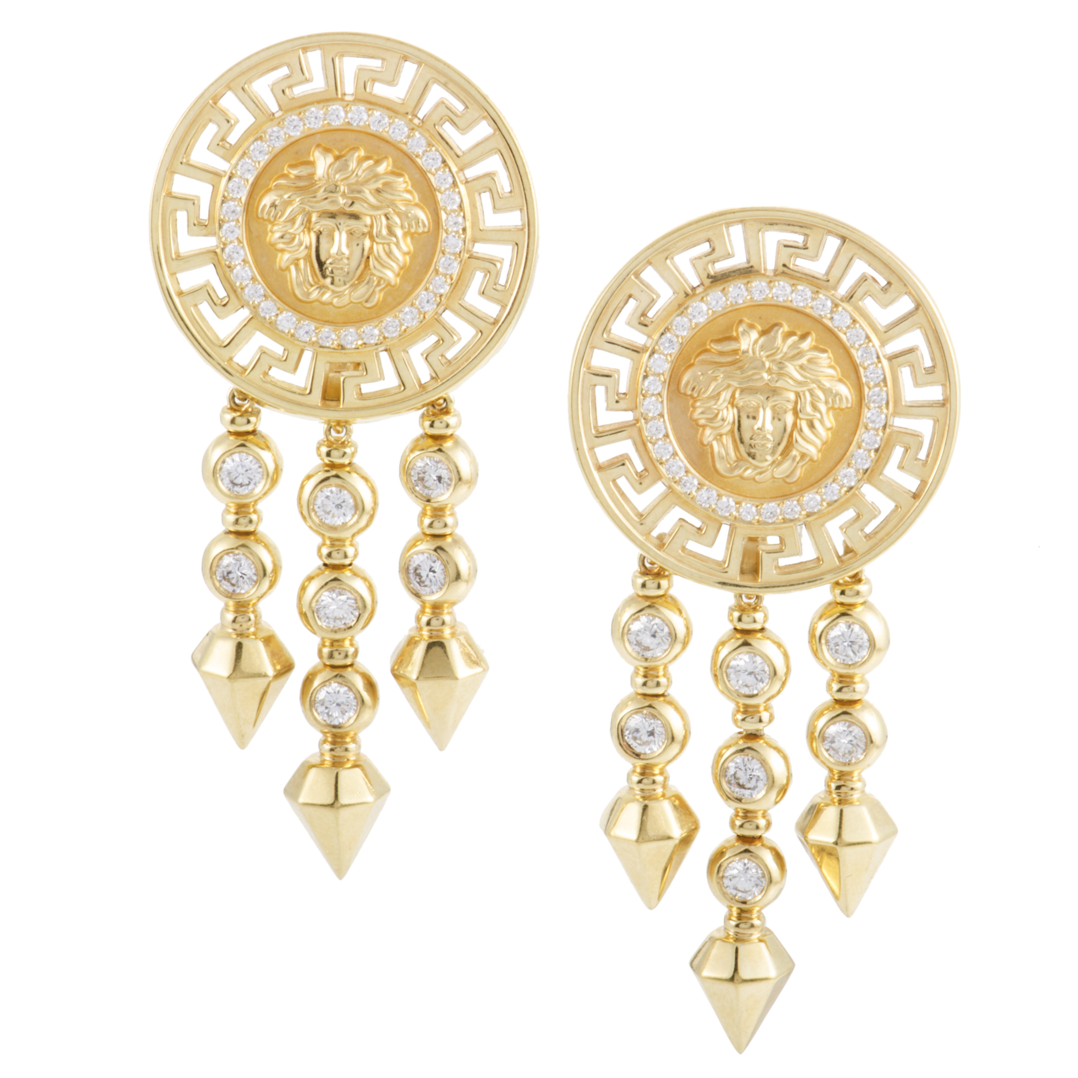"Image of ""Versace 18K Yellow Gold and Diamond Clip-on Dangle Earrings"""