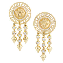 Versace 18K Yellow Gold and Diamond Clip-on Dangle Earrings