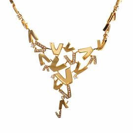 V-Divine 18K Yellow Gold & Diamond Necklace