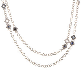 Versace 18K White Gold and Diamonds Multi Stone Necklace