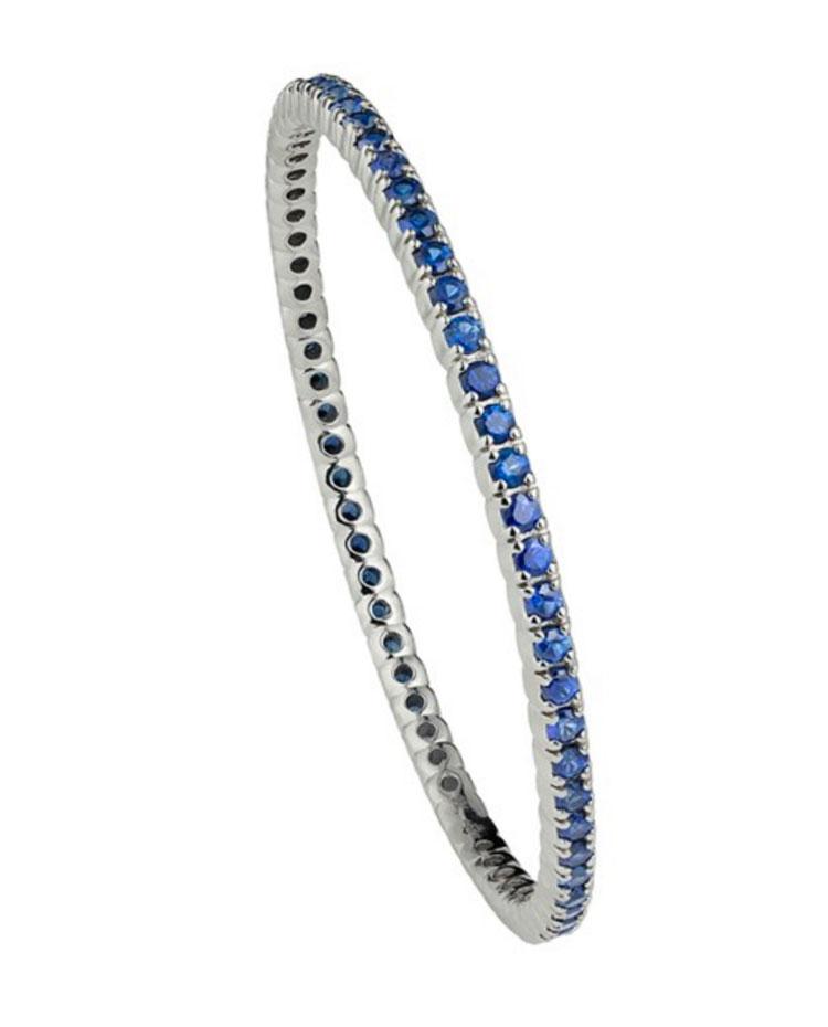 """Image of """"18K White Gold Handset Blue Sapphires Duga- Slip On Bracelet"""""""