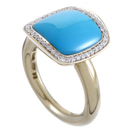Vhernier 18K White Gold Cardinale Diamond & Turquoise Ring Size 6.75