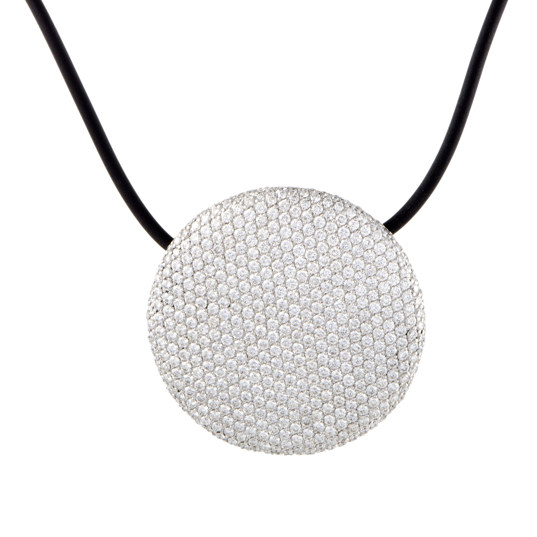 "Image of ""Vhernier 18K White Gold Diamond Pave Black Cord Necklace"""